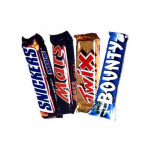 Snickers, Mars, Twix, Bounty and Card