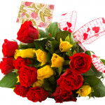 Pleased with Love - 24 Red And Yellow Roses + Card