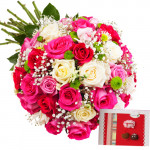Special GIft - 18 Pink & Red Roses, 4 White Roses + Card