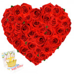 Thank You - 30 Red Roses Heart Shaped + Card