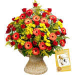 Obliging Flowers - 24 Red & Yellow Gerberas in Basket + Card