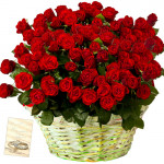 Radiant Flowers - 50 Red Roses Basket + Card