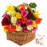 Joyous Flowers - 50 Mix Roses Basket + Card