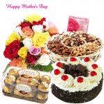 All For One Hamper - 50 Mix Roses, Ferrero Rocher 16 pcs, Assorted Dryfruits 800 gms Basket, 1 Kg Black Forest Cake and Card