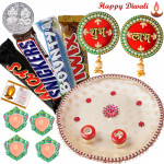 Alluring Choco Thali - Snickers, Mars, Twix, Bounty, Puja Thali (W), Round Shubh Labh, Round Shubh Labh with 4 Diyas and Laxmi-Ganesha Coin