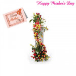 Arrangement of Roses - 100 Multi Coloured Roses Arrangement of 3 to 4 feet and Card