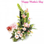 Carnations and Gerberas - 50 Gerberas and 50 Carnations arrangement of 3 to 4 feet and Card