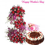 Assorted Flower Arrangements - 100 Assorted Flowers arrangement of 3 to 4 feet, 1/2 Kg Black Forest Cake and Card