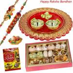Delicious Kaju Mix Thali - Kaju Mix, Designer Ganesh Thali with 2 Rakhi and Roli-Chawal