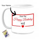 Happy Birthday Bhai Personalized Mug & Card