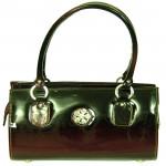 Black Plastic Leather Handbag (10 inch by 12 inch)