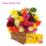 Basket of mix Roses - Basket of 15 mix Roses and Card
