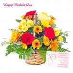 Basket of Assorted Flowers - Basket of 50 Assorted Flowers and Card
