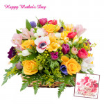 Basket of Assorted Flowers - Basket of 20 Assorted Flowers and Card