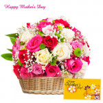 Basket Full of Mix Roses - 35 Mix Roses Basket and Card