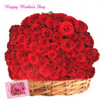 Basket of Red Roses - Basket of 100 Red Roses and Card