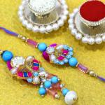 Stunning Pearl & Stones Bhaiya Bhabhi Rakhi Pair