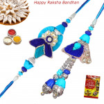 Superb Zardosi Stone & Diamonds Bhaiya Bhabhi Rakhi Pair
