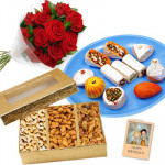 Dry Fruit Wonder - 12 Red Roses, Kaju Mix 250 gms, Assorted Dry Fruits 200 gms and Card