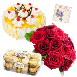 Birthday Chocolates - Pinapple Cake 1/2 kg, Ferrero Rocher 16 pcs, 15 Red Roses in Bunch and Card