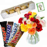 Choco Mix - 20 Mix Roses in Vase, Snickers, Mars, Bounty, Twix, Ferrero 5 Pcs and Card