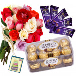 Flowers & Chocolates - Ferrero Rocher 16 Pcs, 5 Dairy Milks, 12 Mix Roses in Bunch and Card