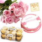 Lady's Treat - 15 Pink Roses in Bunch, Strawberry Cake 1 kg, Ferrero Rocher 16 pcs and Card