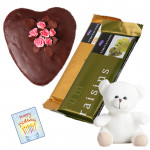 "Extra Chocolate - 2 Temptations, Heart Shape Chocolate Cake 1 kg, Teddy 6"" and Card"
