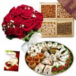 Dry Fruit Wonder - 12 Red Roses, Kaju Mix 250 gms, Assorted Dry Fruits 200 gms & Card