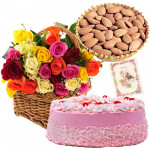 Almonds Special - Strawbery Cake 1/2 kg, Almonds 200 gms in Basket, 35 Mix Roses in Basket & Card