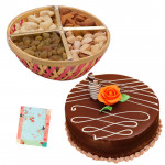 Nuts Special - Assorted Dryfruit 200 gms in Basket, Chocolate Cake 1 kg and Card