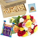 Nuts Special - Cashew & Pista 200 gms, 5 Assorted Chocolates , 12 Mix Roses in Bunch