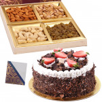 Cake n Nut - Assorted Dryfruit 200 gms, Black Forest Cake 1 kg & Card