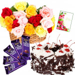 Chocolaty Delight - Blackforest Cake 1 kg, 12 Mix Roses in Basket, 5 Dairy Milk and Card