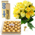 Special Hamper - 12 Yellow Roses in bunch, Do it Perfume , Ferrero Rocher 24 pcs and Card