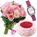 Girl's Delight - 15 Pink Roses, Sonata Watch, Strawbery Cake 1/2 kg and Card
