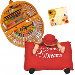 Kid's Delight - Coloring Kit 56 pcs, Teddy Bear Pillow and Card