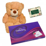 Cute Gifts - 12 inch Teddy Bear, Celebrations 121 gms and Card