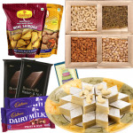 Stomach's Delight - Kaju Katli, Assorted Dry Fruits, 2 Haldiram Namkeen, 2 Bournville, 2 Fruit n Nuts