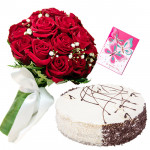 Simply Beautiful - 12 Red roses in bunch, 1/2 kg Black Forest cake and Card