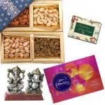 Special Hamper - Assorted Dryfruits 400 gms, Celebrations 121 gms, Laxmi Ganesh Idol