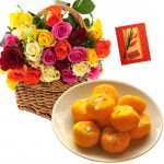 Delightful Sweets - 35 Mix Roses in Basket, Kesar Penda 250 gms and Card