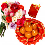 Laddu Treat - 12 Mix Roses , Kanpuri Laddu 500 gms and Card