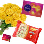 Birthday Celebrations - 12 Yellow Roses in Bunch, Celebrations 121 gms, Soan papdi 250 gms and Card