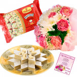 Flowers & Sweets - 12 Mix Carnations, Soan Papdi 250 gms, Kaju Katli 250 gms and Card