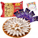Sweets Treat - Kaju Katli 250 gms, Haldiram Soan papdi 250 gms, 5 Dairy milk and Card