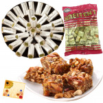 Special Sweets - Kaju Pista Roll 250 gms, Sing Chiki 250 gms, Krietens 300 gms and Card