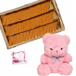 Sweets & Toy - Kaju Kesar Katli 500 gms, 8 inch Teddy and Card