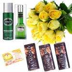 Marvelous - 20 Yellow Roses Bunch + Brut Deodorant & Perfume + Vochelle Chocolates 3 Bars