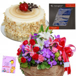Symphony - Basket 25 Mix Flowers + Cake 1/2kg + Stationery Set